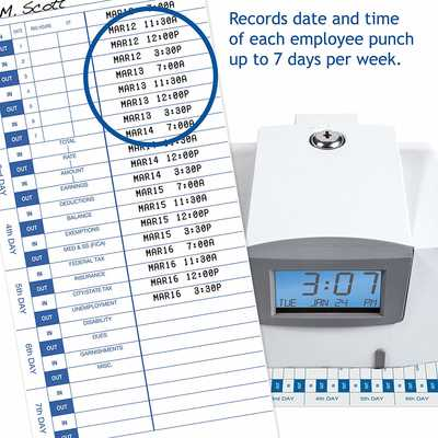 #6. Pyramid 3500 25 Time Cards 2 Security Keys Multi-Purpose Time Clock & Document Stamp