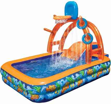 #7. BANZAI Wild Waves Part Inflatable Step-Up Slide & Water-Sprinkling Arch PVC Construction