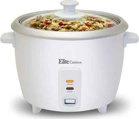 #9. Maxi-Matic 6-Cooked Elite Cuisine ERC-003 Automatic Cook Electric Rice Cooker (White)