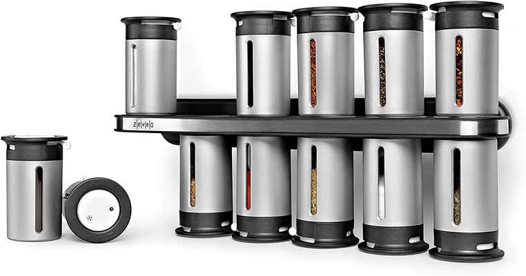 #1. Zevro One-Handed Operation Zero Gravity Wall-Mounted Magnetic Spice Rack w/12 Canisters