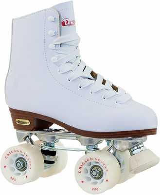 #10. Chicago Skates Classic White Women's Premium Leather Lined Rink Quad Roller Skates