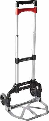 #10. Magna Cart 150lbs Rust-Proof Capacity Personal Aluminum Folding Hand Truck (Black/Red)