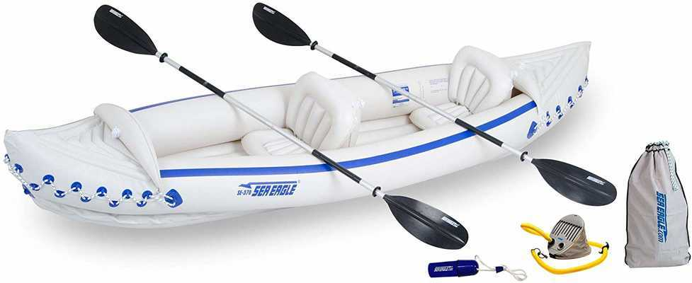 #2. Sea Eagle 370 Deluxe 3-Person 650lb Super-Comfortable Inflatable Portable Sport Kayak w/Paddles
