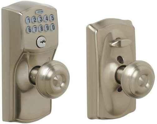 #3. SCHLAGE FE595 CAM 619 Georgian Camelot Keypad Entry w/Flex Lock (Satin Nickel)