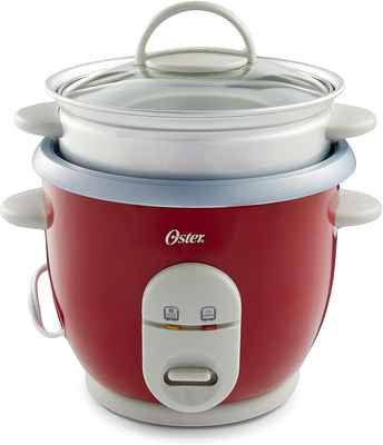 #10. Oster 6-Cup Compact Tempered Glass Auto-Keep Warm Rice Cooker w/Steamer (Red)