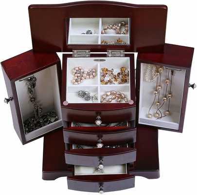 #5. Mele & Co. Bette Hourglass Shape Mahogany Finish Elegant Wooden Jewelry Box
