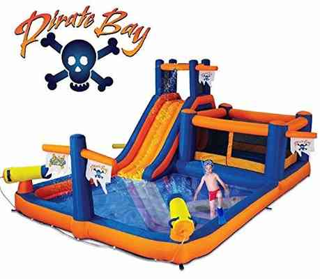 #1. Blast Zone 5 Occupant Pirate Bay Inflatable Max Combo Bounce & Water Slide