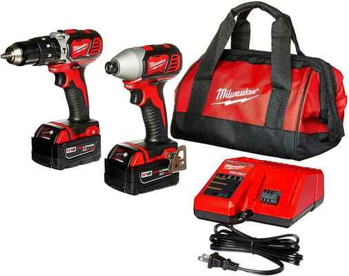 #1. Milwaukee M18 2697-22 18V 1/2'' w/Bag 2 Batteries & Charger Home Tool Combo Kit