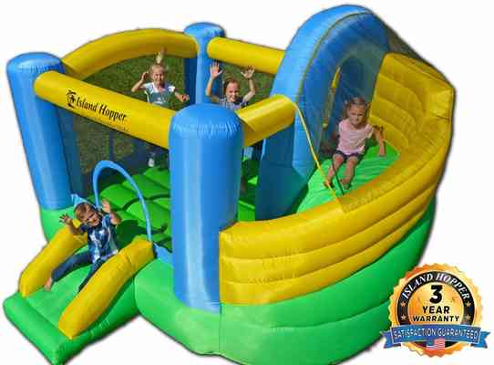 #5. Island Hopper Recreational Slide Kids Bounce Curved Double House Safe Climbing Wall