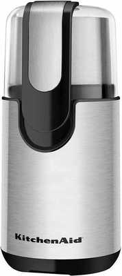 #6. KitchenAid BCG11OB Stainless Steel Blade 160W Motor Coffee Grinder (Onyx Black)