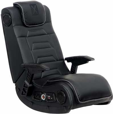 #6. X-Rocker Pro Series H3 4.1 High Tech Audio Wireless Foldable Headrest Black Leather Gaming Chair
