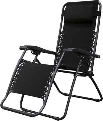 #9. Caravan Canopy Durable Strong Steel Frame Sports Infinity Zero Gravity Chair (Black)