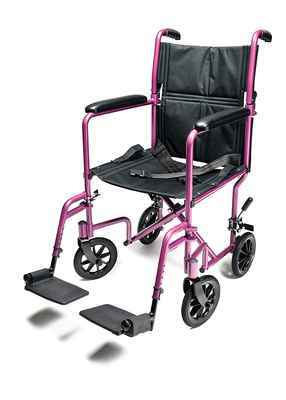 #6. Graham-Field 5'' Swivel Casters 19'' Seat Pink 19 x 16'' Seat Aluminum Transport Chair
