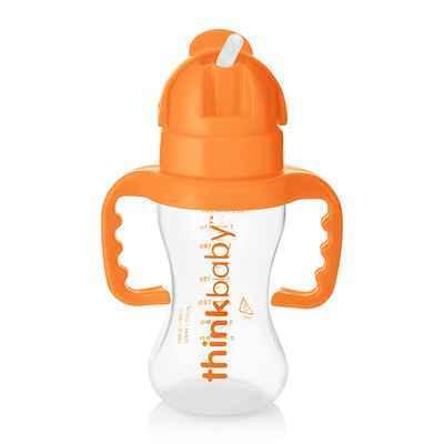#9. Thinkbaby 9 Oz. Extra-Soft Dishwasher Safe BPA-Free Thinkster Bottle (Orange)