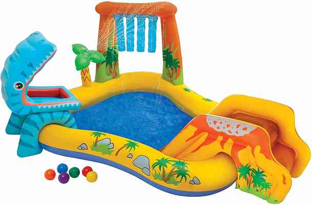 #10. Intex Dinosaur Inflatable Play Center for Ages 2+ with Landing Mat for Additional Padding
