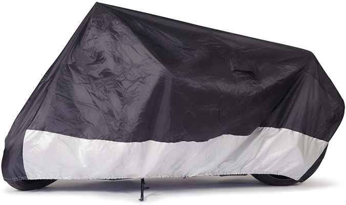 #6. Budge Fit Up to 96'' Universal Fit Waterproof Sportsman Motorcycle Cover (Black)