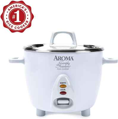 #5. Aroma Housewares 3-Cups Stainless Steel Healthy Conscious Rice Cooker (White)