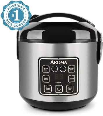 #4. Aroma Housewares Electric Food Steamer Cool-Touch 8-Cup Rice Cooker (Silver)