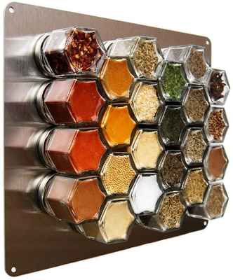 #7. Gneiss Spice Medium Stainless Steel 10'' x 12'' Finish Wall Plate Magnetic Spice Rack