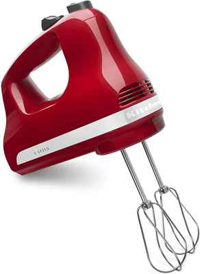 #1. KitchenAid Stainless Steel Empire RedKHM512ER Ultra-Power 5-Speed Power Hand Mixer