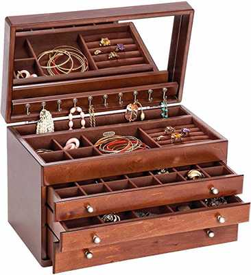 #10. Mele & Co. Brigitte Ten Hook Necklace Drop 3 Drawers & Mirror Large Jewelry Box