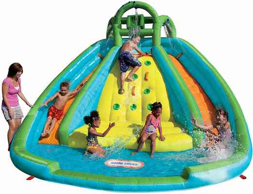 #2. Little Tikes River Race Rocky Mountain Inflatable Slide Bouncer 4 Kids with Max of 350lbs