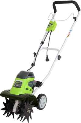 #9. Greenworks 27072 Powerful 8 AMP Motor 10-Inch Reliable Corded Tiller