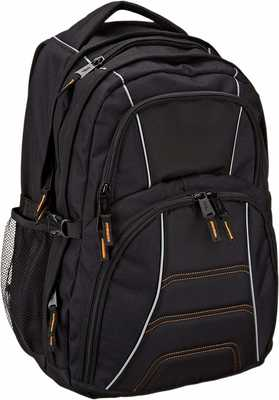 #5. AmazonBasics Fits Up To 17'' Laptops Multi-Compartment Mesh Side Pocket College Backpack