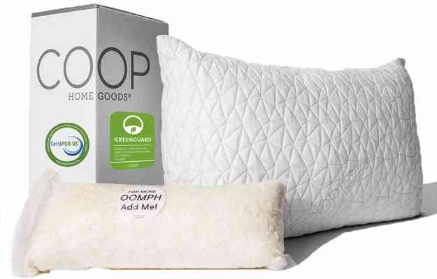 #1. COOP Home Goods Hypoallergenic Cross-Cut Lulltra Memory Foam Pillow with Washable Cover
