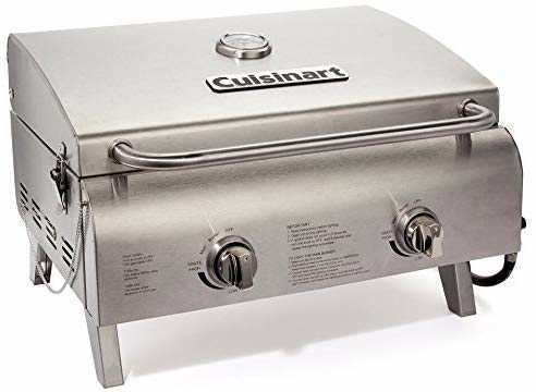 #2. Cuisinart CGG-306 Two-Burner Stainless Steel Professional Tabletop Outdoor Gas Grill