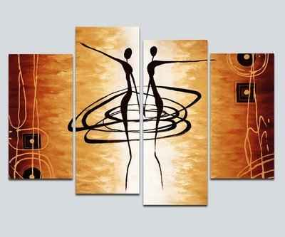 7. Wieco Art Large 4-Pcs Modern African Dancing Oil Canvas Wall Art for Home Decoration
