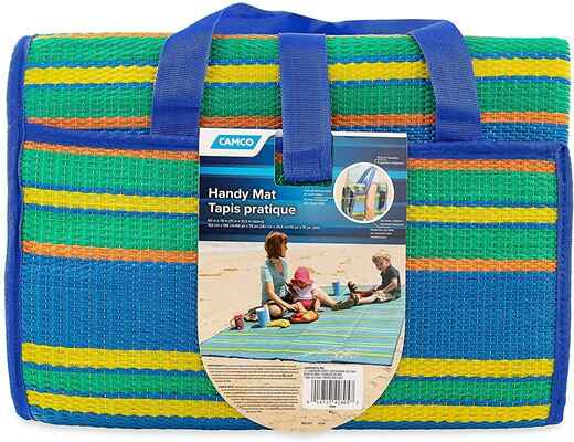 #7. Camco 42805 Mildew-Resistant Weather-Proof Handy Beach Blanket for Outings (Blue/Green)