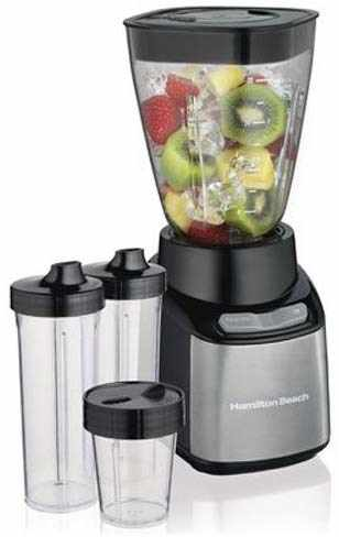 #8. Hamilton Beach 52400 32 Oz Jar 8 Oz Grinder 2 Portable Cups Juice Blender (Black & Silver)