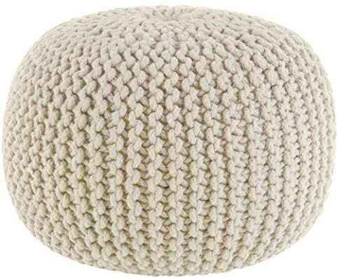 #4. COTTON CRAFT Handmade & Hand Stitched 100% Braid Cord Hand Knitted Cable Style Dori Pouf
