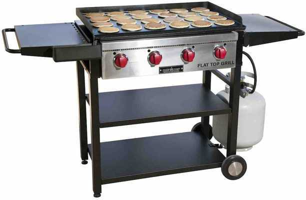 #8. Camp Chef Foldable Shelves 12,000 BTU Stainless Steel Burners Flattop Outdoor Griddle