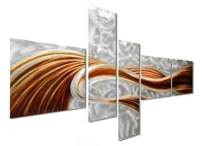 3. Pure Art Caramel Large Modern 5-panels 69'' x 40'' Wall Art Sculpture for Living Space