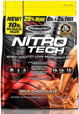 #1. NitroTech 10lbs 103 Serving 100% Protein Powder Milk Chocolate Whey Isolate Muscle Builder