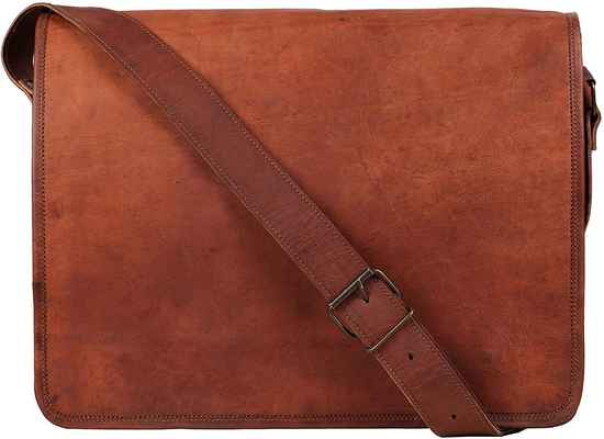 #10. Rustic Town 15'' Genuine Leather Laptop Vintage Crossbody Messenger Bag