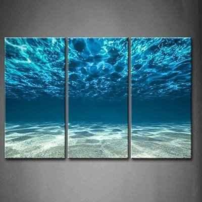 10. Firstwallart Blue Sea 3-Panel Modern Office Print Picture Modern Canvas Wall Artwork