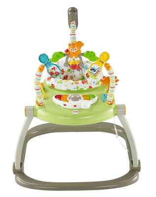 #8. Fisher-Price Light-Up w/Squirrel Roller Ball Woodland Friends Space Saver Jumperoo