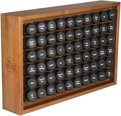 #8. AllSpice 60 4 Oz Jars Solid Wood Frame 315 Pre-Painted Spice Labels Wood Spice Rack (Walnut)