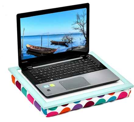#10. WELLAND Fits Up to 17'' Colorful Dot Laptop Lap Desk for Sofa, Car, Bed, and Couch