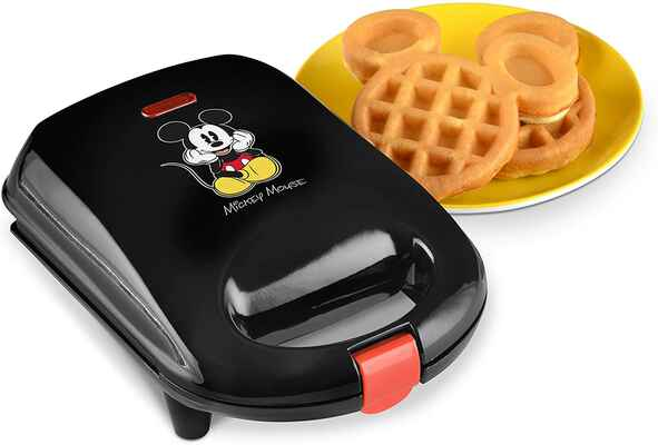 #10. Disney Black Non-Stick Baking Plate Convenient Cord Wrap DCM-9 Mickey Mini Waffle Maker
