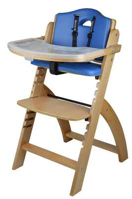#10. Abiie Adjustable 250lbs Natural Wood Toddler Baby High Chair w/Tray (Blue Cushion)