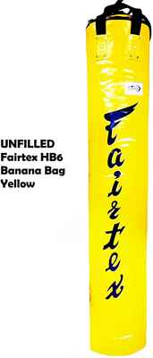 #10. Fairtex HB6-6 Ft Unfilled Heavy-Duty Muay Thai Banana Bag Yellow Punching Bag for Kickboxing