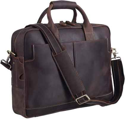 #3. Texbo 16'' Full Grain Genuine Leather Laptop Bag Messenger Bag Tote w/YKK Metal Zipper