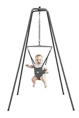 #4. Jolly Jumper Original Baby Exerciser Saddle Jump & Play Super Stand for Active Babies