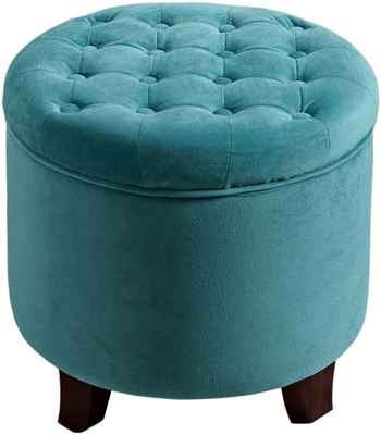 #5. HomePop Fabric Button Tufted Top Velvet Round Storage Ottoman w/Removable Lid (Teal)
