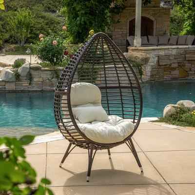 8. Christopher Knight Home Teardrop Chair w/ Cushion Dermot Multi-brown Wicker Lounge (Brown)