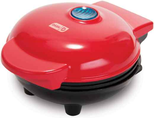 #9. DFY Mini Portable Waffle Maker for Individual Cookies, Pancakes, Paninis & Hash Browns (Red)